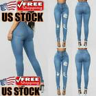 Women Ripped Jeans Skinny Denim Pencil Pants High Waist Stretch Casual Trousers