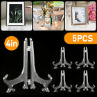 5 Pack Clear display easel Stand Plate Photo Frame Pedestal Picture Holder folds