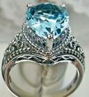 Tear Sim Aquamarine Victorian/Art Deco Filigree Sterling Silver Made To Order