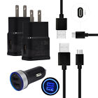 Fast Charging for LG Stylo 4 V30+ V20 Car Wall Phone Charger Adapter USB C Cable