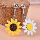 Sunflower Flower Surgical Steel Belly Button Ring Navel Piercing Body Jewelry image