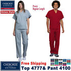 Cherokee Scrubs Set ORIGINALS Unisex V-Neck Top  Drawstring Pant 4777/4100