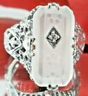 Frosted Camphor Glass Sterling Silver Victorian Filigree Ring {Made To Order}