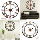 Large Outdoor Retro Style Garden Wall Clock Big Roman Numerals Giant Open