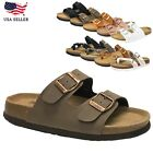 New Women's Birken Style LEATHER INSOLE Buckle Double Strap Slide Footbed Sandal