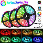 5050RGB LED Strip Battery Powered TV Kitchen Flexible Rope Waterproof Light 1-5M