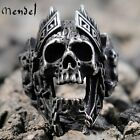 MENDEL Mens Stainless Steel Gothic MC Biker Skull Crown Ring Black Men Size 8-15