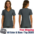 TRU UNIFORM Scrub Women's Two Front Patch Contrast Piping V-Neck Top 20203