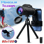 High Power 80x100 HD Monocular Telescope Night-Vision Outdoor & Phone Clip Tripo
