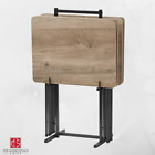 TV Tray Table Home Folding Wood Side Table Set 4 Trays with Stand MULTIPLE COLOR