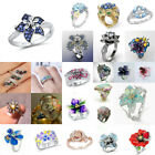 Fashion 925 Silver Fire Opal White Topaz Flower Ring Wedding Engagement Jewelry