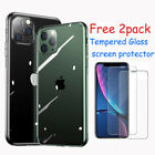 Case for iPhone SE 2nd 7/8 Clear TPU Silicone Cover+2pack Glass Screen protector