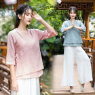 Autumn Womens Chinese Style Han V-Neck 3/4 Sleeves Cotton Linen Blouse Outfit