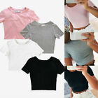 Women's Casual Short Sleeve Blouse T-Shirt Bodycon Gym Yoga Sports Crop Tank Top