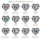 New S925 ALE Authentic Pandora SIGNATURE HEART Birthstone Charms *CHOOSE MONTH* image
