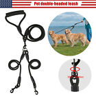 Nylon 2 Way Dog Coupler Leash No Tangle Pet Double Lead for Twin 2 Dogs Walking