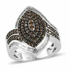 TJC Red Diamond Cocktail Cluster Ring Platinum Over Silver White Diamond Gift