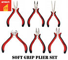 Mini Precision Pliers Set Jewellery Crafts Hobby Tool Soft Grip Spring Loaded