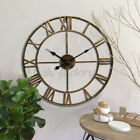 Roman Numerals Wall Clock 3D Home Retro Vintage Metal Hollow Iron Mute Watch