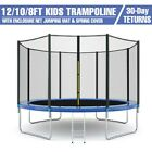 8/10/12FT Kids Trampoline With Enclosure Net Jumping Mat & Spring Cover Padding image