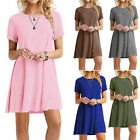 Womens Summer Tunic T Shirt Dress Short Sleeve A Line Solid Short Beach Sundress
