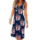 Women Floral A Line Midi Dress Sleeveless Casual Summer Tank Sundress Plus Size