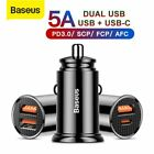 Baseus Quick Charge 4.0 USB Car Charger PD 3.0 Type-C Adapter for iPhone Samsung