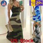 Womens Summer Camouflage Printed Long Sling Dress Holiday Party Maxi Sundress