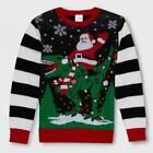 BOY'S WELL WORN SANTA DINO UGLY CHRISTMAS SWEATER BLACK WHITE