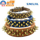 Внешний вид - US Retro Studded Spiked Rivet Large Dog Pet Leather Collar Pit Bull S-XL
