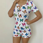 Women's Printed Bodycon V Neck Leotard Jumpsuit Shorts Romper Bodysuit Playsuit