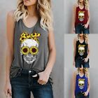 Fashion Women Casual O-Neck Floral Skull Print Sleeveless T-Shirt Tank Vest Tops