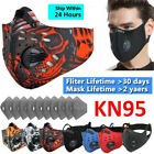 Cycling Face Mask Active Carbon Filter Breathing Valves Breathable Sport Mask Us
