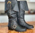 Brown Medieval Knight Serenity Pirate Steampunk Costume Knee High Boots Mens