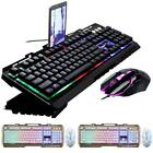 Gaming Keyboard Mouse Set LED Wired USB For Phone PC Laptop Tablet Notebook Home