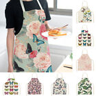 Waterproof Butterfly Printed Cotton Linen Apron Kitchen Cooking Bib Aprons Uk
