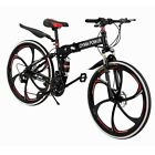 26in Folding Mountain/Race Bike 21 Speed Bicycle Full Suspension MTB Bikes