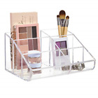 Clear Plastic 6-Compartment Vanity Makeup Organizer BEAUTY Supplies Fingertip