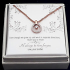 From Brother to Sister-Cubic Zirconia Rose Gold Plated Stainless Steel Necklace