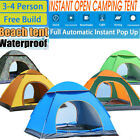 Tent Pop Up Family Camping Waterproof Automatic Beach Hiking Shelter Outdoor 3-4