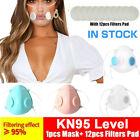 Double Vent Clear Face Masks & Filters Pad Set Anti-droplets Reusable Respirator