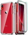 COOLQO Compatible for iPhone XR Case, with [2 x Tempered Glass Screen