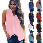 Women Sleeveless V Neck Tank T Shirt Casual Solid Blouse Loose Beach Party Tops