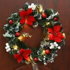 UK Christmas Wreath Xmas Garland with Battery Operated LED String Lights Decors