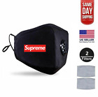 Custom Supreme Black Face Mask With Free Filters (Reusable Washable Durable)