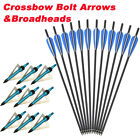 16-22'' Crossbow Bolts Carbon Arrows Hunting Shhoting & 12x 100grain Broadhead