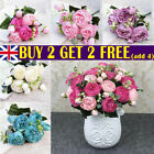 9 Heads 1 Bouquet Artificial Peony Rose Silk Fake Flowers Home Wedding Decor Uk