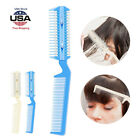 2 In 1 Barber Scissor Hair Razor Cutting Device Thinning Trimmer Comb W/ Blade