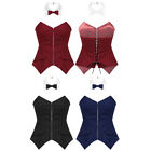 Womens Lace-up Corsets Bustier Striped Straples Tube Top Tuxedo Shirt Bow Tie