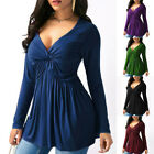 Womens Sexy Long Sleeve Casual Loose Blouse Solid T-Shirt Tunic Tops Plus Size
